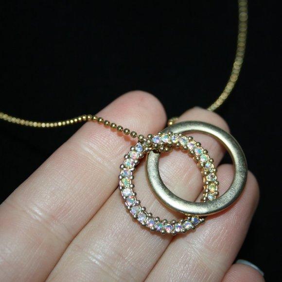 "Beautiful gold and AB rhinestone necklace 16-18"""